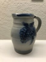 6 Tall - Rowe Pottery Works Blue Salt Glazed Pitcher or Vase grapes 1991
