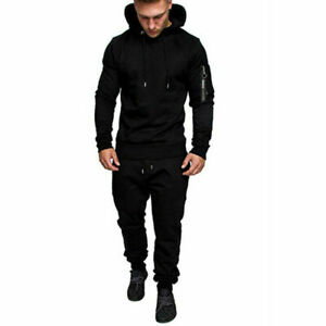 Men's Men's Suit with Zipper Hoodie Solid Color All-Match Sports Trousers Strech