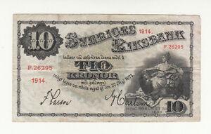 Sweden 10 kronor 1914 circ. @ low start