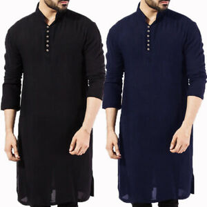 Men Pathani Kurta Pajama Indian Cotton Ethnic Shirt Solid Autumn Long Sleeve Top