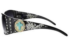 Womans Sunglasses Rhinestone Turquoise Cross Gold Concho Black Frame Gray Lens