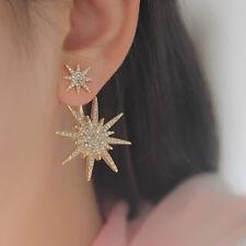 1X Fashion Crystal Star Flower Gold Ear Cuff Stud Earring Wrap Clip On Ear Woman