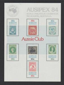 "1984 AUSIPEX 84 M/S overprinted ""Aussie Club"", MUH. SCARCE. FREE REGISTERED POST"