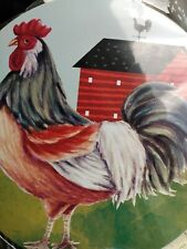 Rooster Farm Red Barn Stove Top Burner Cover Set Large And Small 10 inch 8 inch