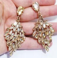 Rhinestone Chandelier Earrings Bridal Wedding Jewelry Pageant Prom Topaz 3 in