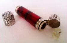 More details for rare solid silver & cranberry glass double end victorian scent bottle