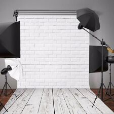5x7ft White Brick Wall Wooden Floor Vinyl Photography Background Backdrop Props