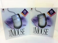 (2) NEW SEALED Vintage Microsoft Mice w/IntelliPoint Software Windows 95 PS/2