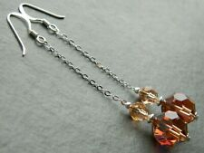 Vintage Honey & Copper Brown Faceted AB Crystal Beads & 925 Silver Long Earrings