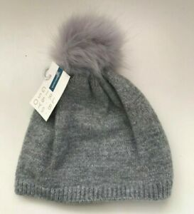 John Lewis Girls Lurex Beanie Hat / Grey Large Age 9-12 Years New with Tags