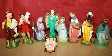 VINTAGE CHRISTMAS NATIVITY EMPIRE MADE pre1960 PLASTIC 9 piece Religious Display