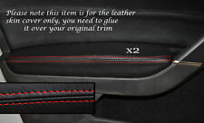 RED STITCH 2X FRONT DOOR ARMREST SKIN COVERS FITS VW GOLF MK7 VII JETTA 13+