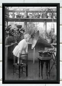 Antique Photo Little Girl Looking into Gramophone Victorian Photo Print 8x12