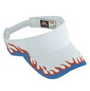 NEW WHITE RED BLUE FLAME FIRE SUN VISOR CAP ADJUSTABLE SKATE CURVED BIKER USA