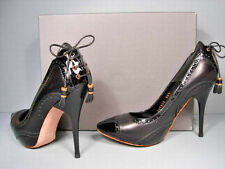 McQueen 36.5/6.5 Black Leather Patent Platform Oxford Lace Up Back Pumps New