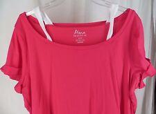 Avenue Pima Soft Tee Tshirt 26 28 Pink White Plus Size