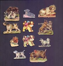 11 Nice Vintage,Scraps Largest 50 x 40 mm Assorted Dogs   (SB 73)