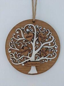 Personalised Family Tree, Tree Of Life, engraved oak family, Christmas, Birthday
