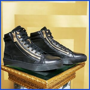 NEW VERSACE COLLECTION SUEDE/LEATHER GOLD ZIPPER HIGH-TOP SNEAKERS 44- 11