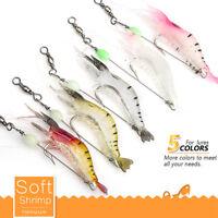 5pcs Soft Shrimp Bait Luminous Silicone Prawn Fishing Lures Hook Bait