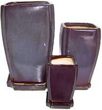 "SET OF 3 BLUE BROWN 12"" 9"" 6"" RECTANGULAR CERAMIC PLANTERS WITH SAUCERS"