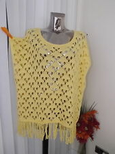 NEXT BRIGHT YELLOW  KNIT PONCHO BEACH COVER UP SIZE S LADIES BNWT RP £28