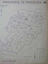 Vecchia stampa della provincia di PIACENZA d Epoca fascista Regno Italia mappa