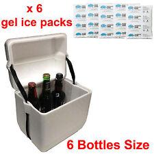 6 bottle Polystyrene styrofoam foam cooler box icebox + 6 reusable ice gel packs