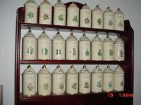 25-PC LENOX Spice Garden 24-Spice Jars/Wood Display Shelf/Drawer/FREE SHIP!