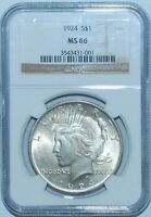 1924 P NGC MS66 Peace Silver Dollar