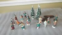 VINTAGE LOT OF CHRISTMAS VILLAGE CERAMIC PEOPLE AND CHRISTMAS TREES FIGURES