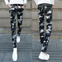 Men's Slim Stretch Floral Printed Casual Camouflage Skinny Jeans Pants Trousers