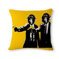Pulp Fiction Banksy MONKEYS & BANANAS Cushion Cover! Retro Film Pillow 45cm Gift