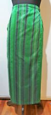 Size 6-8 Hand Woven Green & Black  Cambodian Silk Wrap Around Skirt