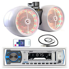 "Pyle USB Bluetooth Marine Radio,Antenna,White LED 6.5"" Tower Wake Board Speakers"