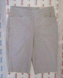 New CHICO'S Size 2 SHORT So Slimming BRIGITTE Bermuda Shorts Stripes Stretch