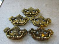 (5) VTG Furniture Drawer Pulls Bail Chippendale Thistle Batwing Canada CP-2473