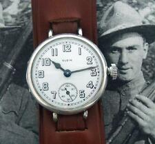 HANDSOME Men's 1918 Elgin WWI Wire-lug Solid Sterling Wristwatch - SERVICED