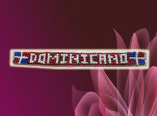 "Dominican Republic Bracelet Beads Handmade Red ""Dominicano"" Wristband Souvenir"