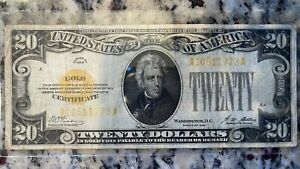 1928 $20 USA Gold Certificate Ungraded
