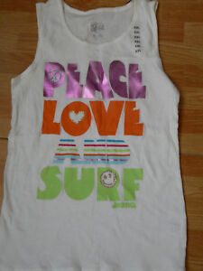 """JUSTICE FOR GIRLS """"PEACE LOVE AND SURF"""" TANK TOP SIZE XXL FITS A JUNIOR S/M NWT"""