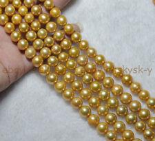 "Natural Huge 9-11mm South Seas Gold Kasumi Genuine Pearl Loose Beads 15"""