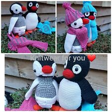 Pingu and Pinga with hat and scarf handmade made in uk cute 2set