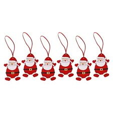Pack of 6 Wooden Santa Claus Christmas Tree Hanging Pendant Decorations