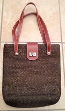 J. CREW Brown Woven Leather Straps Easy Clasp Medium Shopper Tote Hand Bag Purse