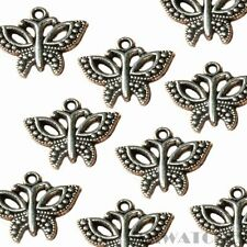 5 TIBETAN ANTIQUE SILVER BUTTERFLY CHARM PENDANT BEADS SIZE 16mmx19mm TS54