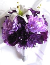 Wedding Bouquet Bridal Silk flowers WHITE LILY PLUM PURPLE LAVENDER 17pc Package