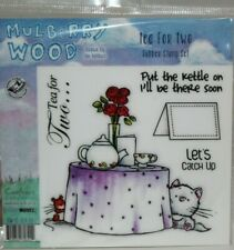 Mulberry Wood Tea For Two Rubber Stamp Set Unmounted New In Package