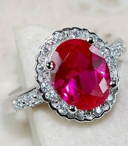 3CT Ruby & White Topaz 925 Solid Sterling Silver Ring Jewelry Sz 7, M4