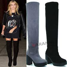 Block Heel Knee High Boots Suede Shoes for Women